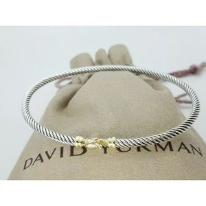 David Y 18k Hook Buckle Bangle 3mm Sz Medium